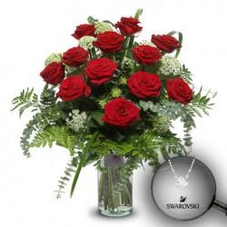 Ramo 12 rosas extra y colgante Attract Round