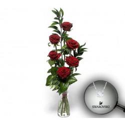 6 Rosas rojas extra y colgante Fizzy