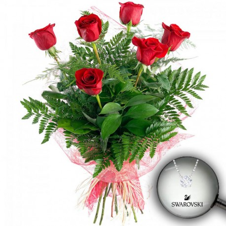 6 Rosas tallo corto y colgante Fizzy