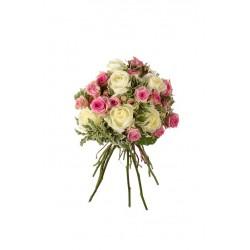 Bouque Mediano de rosa blanca y rosa pitiminí