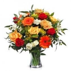 Ramo Mediano de rosas variadas colores cálidos