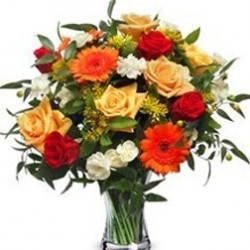 Ramo Grande de Rosas Variadas Colores Cálidos